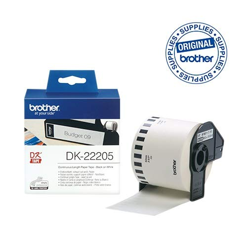 Brother DK-22205 Endlosetiketten (Papier, 62 mm breit, 30,48 m lang, für Brother QL-Etikettendrucker) - 500 Brother P-touch Ql