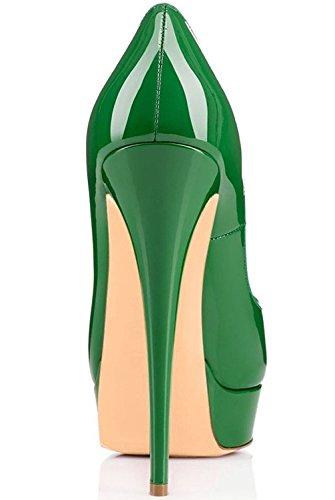 Edefs - Chaussures Femme - Escarpins Peep Toe Femme - Talon Haut Avec Plate-forme À Boutons Verts