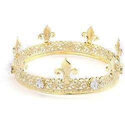 Frcolor Tiara medieval imperial de la corona de los hombres, accesorios de la joyería del pelo de la venda de corona del rey de oro para la fiesta del concurso