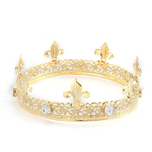 König Kostüm Prom - Frcolor Herren Krone, Kristall Strass volle Runde König Qeen Krone für Prom Party Hüte Kostüm Zubehör