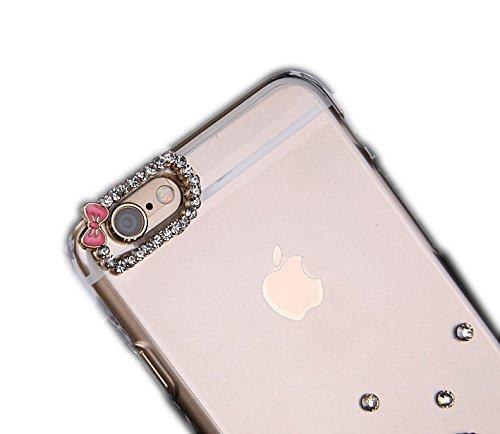 iPhone 6S Coque, Sense-TE Luxueux 3D Handmade Crystal main étincelle Glitter strass dans diamant couverture clair transparent avec rétro bowknot anti poussière plug - Sweet Heart Pendentif Ours Lovers Kitty Lovers Fleurs / Coloré