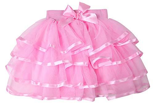 (storeofbaby Baby Mädchen Rosa Tutu Rock 4 Schichten Kurze Plissee Dress Up Cosplay Dance Petticoat)