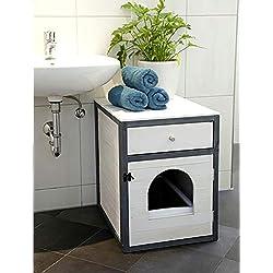 Kerbl - Casa para Gatos (45 x 58 x 60 cm), Color Blanco y Gris
