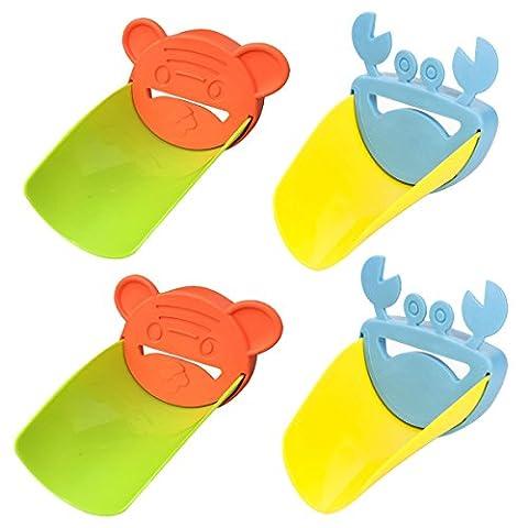 - Radzierblenden 4er-Satz Spüle Griff Verlängerung für Baby Animal Form Armaturen Wasserhahn Extender für Kleinkinder Kinder Hand Waschen in Waschbecken Sicher Fun Hände waschen Lösung für Babys Kleinkinder Kinder und Kinder