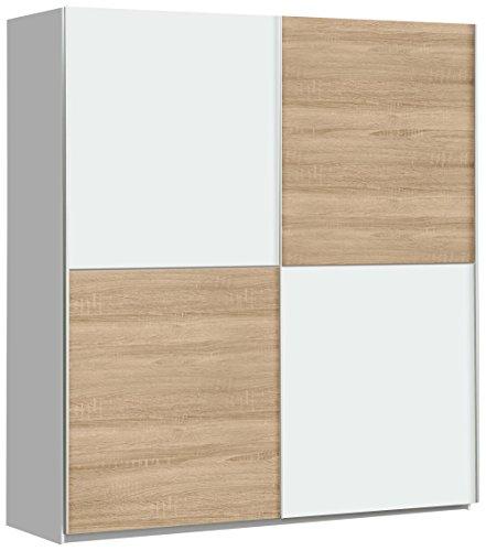 NEWFACE Winner Schwebetürenschrank mit 2 Türen, Holz, Weiß + Sonoma Eiche, 170.3 x 61.2 x 190.5 cm