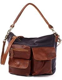 LECONI vintage look canvas leather shoulder bag shopper tote handbag women 41x32x10cm LE0039-C