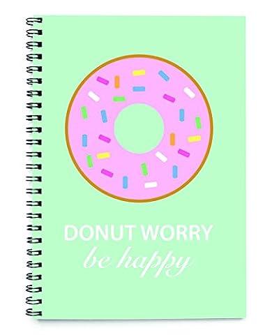 Donut worry be happy funny spiralbindung notizbuch 50 blatt (A5)