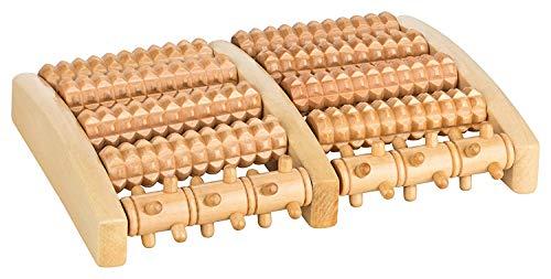 Aminata Home - Holz-Massage-Roller Fuss-Massage-Roller für Anti-Stress und Entspannung im Büro mit Baumwoll-Beutel - Massage Bett Roller