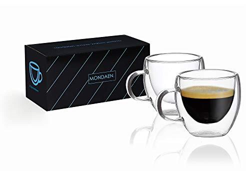 MONDAEN. Elegante Espressotassen - doppelwandig aus hochwertigem Borosilikat-Glas - 2er Set Thermo-isoliert für ausgiebigen Espressogenuss - mundgeblasen 80 ml (Espressotasse)