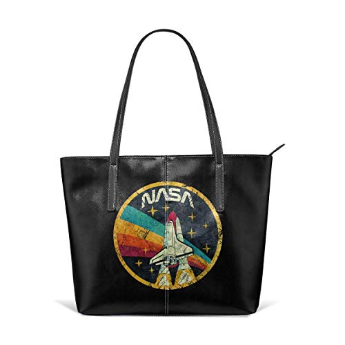 Mode Handtaschen Einkaufstasche Top Griff Umhängetaschen Waterproof Crossbody Bags Ladies Single Shoulder Cowhide Evening Purses Party Bags Printed with USA Space Agency Vintage Colors V03