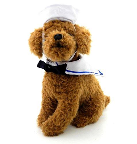 Zunea Hund Krawatte Halsband und Mütze Navy Sets Kleiner Hund Sailor Kostüm Anzug Verstellbar Cute Puppy Cosplay Outfits Apparel für ()
