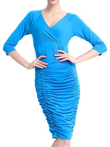 Alisa.Sonya Damen Plissee Kleid blau blau Hellblau