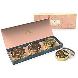 Sortiertes Tee-Geschenk-Set, 3 TEES - Grüner Süßer Himalaya Detox Tee, Kurkuma Gewürz Tisane, Imperial Safran Chai - Exklusive Tee-Geschenk-Box - Schöne Tee-Geschenk-Box für Weihnachten und die Feiertage