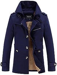 Zicac –Manteau manches longues Trench l`hiver doublure en laine Homme