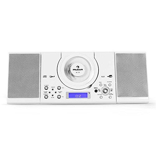 auna MC-120 • Stereoanlage • Kompaktanlage • Microanlage • MP3-fähiger CD-Player • UKW-Radiotuner • 30 Senderspeicher • USB-Port • AUX-IN • Weckfunktion • Dual-Alarm • LCD-Display • Fernbedienung • Boxen abnehmbar • Stand- und Wandmontage • weiß