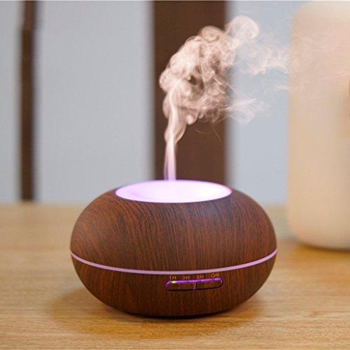Crayom Aroma-Diffusor, 300ml Ätherisches Öl Diffusor Elektrische Ultraschall-Luftbefeuchter Aromatherapie Cool Mist Luftbefeuchter, Luftreiniger, 7 Farbe LED-Leuchten für Home Baby Room Schlafzimmer-Holz-Korn ( Color : Dark wood )