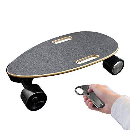 Happy dumplings Elektrisches Skateboard-Minikäfer-Skateboard, vierrädriges Skateboard-einzelnes Antriebs-elektrisches Melonen-Rad-Vierrad-drahtloses Fernsteuerungsskateboard,Black