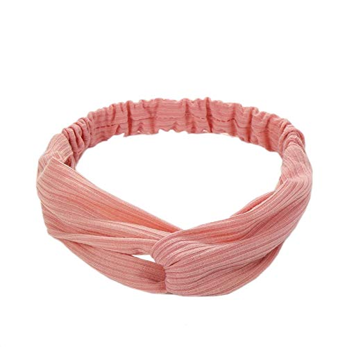 Vogue Hair Accessories Korean Style Solid Fabric Knot Stretchable Hairband Headband for Girls and Woman (Pink)