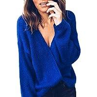 NINGSANJIN Damen Pullover V-Ausschnitt Langarm-Mantel Strickpullover lose Pullover Jumper Tops