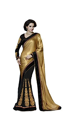Designer Saree Satin Beige Patch Work Party Sarees