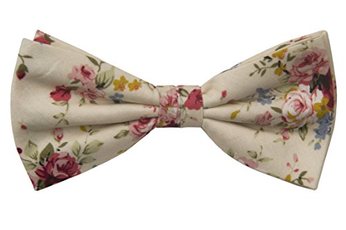 Notch Gebundene Fliege aus Baumwolle für Herren - Blumen in Rosa, Rot, Blau & Gelb auf Champagne