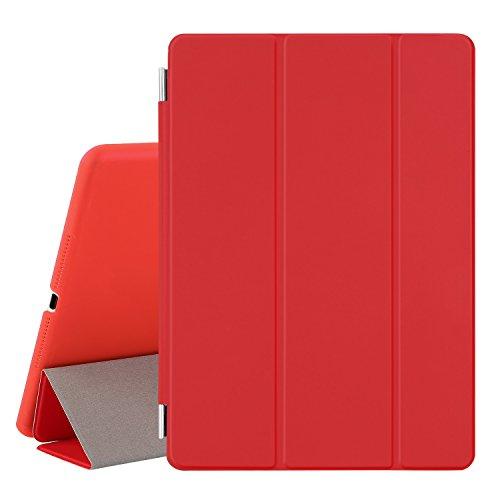 Besdata® Ultra Dünn Edles Smart Cover Leder Case Schutz Hülle Tasche + Back Case für ipad air 2 - inkl. Displayschutzfolie Reinigungstuch Stift mit Multi Ständer Auto Sleep Wake (ipad air 2, Rot) - PT9803