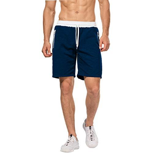 CHYU Herren Sport Joggen und Training Shorts Fitness Kurze Hose Jogging Hose Bermuda Reißverschlusstasch (M, Lake Blue) -
