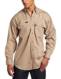 Key Apparel Men's Flame Resistant Button Down Long Sleeve Twill Shirt