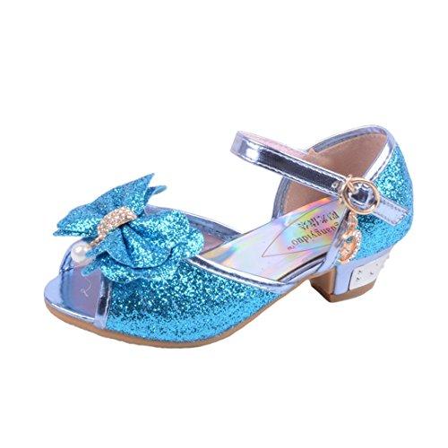 3d46ab74f47b3 YYF Fille Sandale Princesse Chaussures a Talon Reine de Neige Belle avec  Pailliettes Nœud à Deux