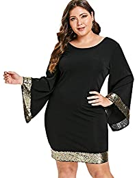 e8395366bf2 RoseGal Women s Plus Size Flare Sleeve Glitter Bodycon Sequin Cocktail  Party Club Evening Mini Dress