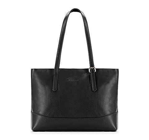 WITTCHEN Damen Shopper Damentasche, 12,5x55x38 cm, Schwarz, Leder, Echtleder, Handmade, 83-4E-494-1