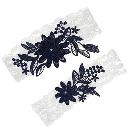 P prettyia 2 pezzi leg anello giarrettiere giarrettiera da sposa blu strass decorate con accessori per le gambe europee e americane