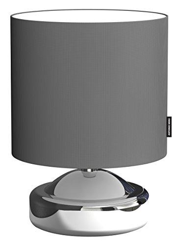 ranex-6000494-lampe-a-poser-touch-collection-miro-metal-tissu-chrome-et-gris