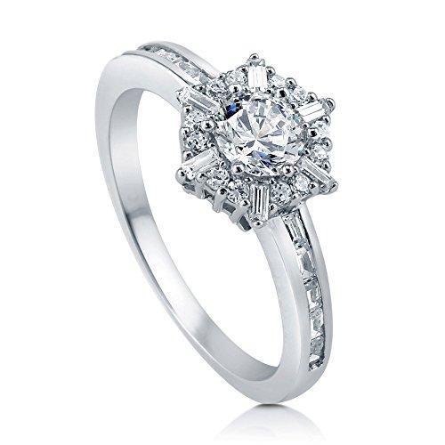 Sterling-Silber Cubic Zirkonia rund Halo Ring Schneeflocke (Schneeflocke Ringe)