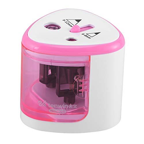 TOYANDONA Batteriebetriebene elektrische Bleistiftspitzer, tragbare Doppelspitzer (Pink)