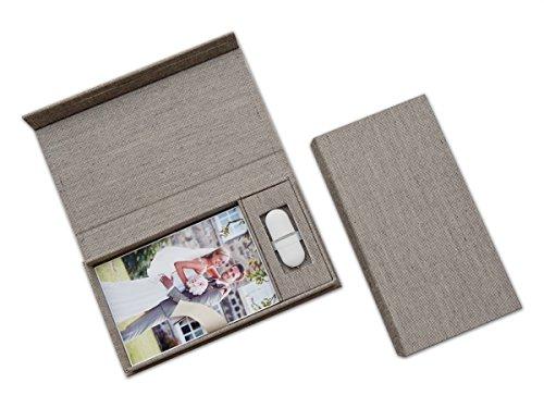 Hochzeit USB-Aufbewahrungsbox mit Foto-Box. Leinenstoff Grau. Ohne USB-Stick