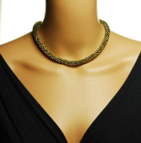 Collana con ciondolo in cristallo, colore: verde oliva