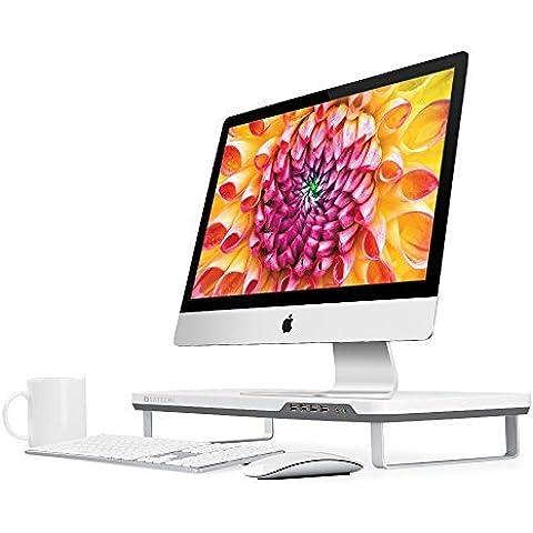 Satechi F3 - Soporte de monitor inteligente con cuatro puertos USB 3.0 y puertos para auriculares / micrófono de extensión (Blanco)