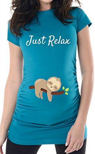 Türkis Just Relax, 38, Umstands T-Shirt/Schwangerschafts T-Shirt, Bed