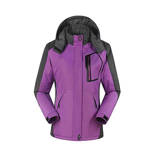 Unisex Regenjacke Regenmantel Parka Winter Fahrrad Outdoor Sport mit Kapuze Freizeit warm Damen-Purple