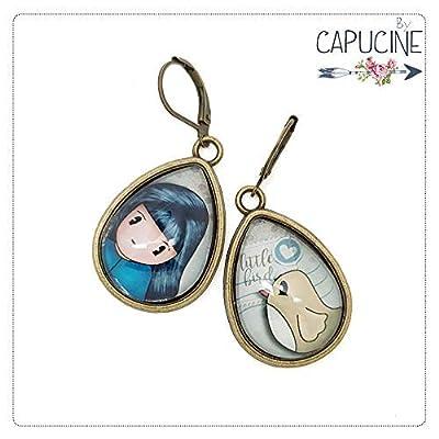 Boucles d'Oreilles Pendantes Gouttes avec Cabochon en Verre Fillette et Oiseau, Bleu et Beige