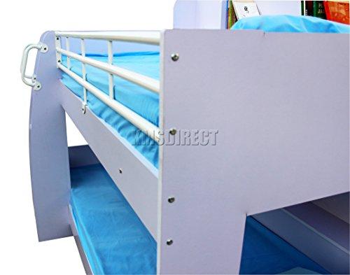 FoxHunter MDF Wooden Frame Bunk Bed Single 3FT With Shelves Children Kids Boys Girls Sleeper BBWS01 White No Mattress