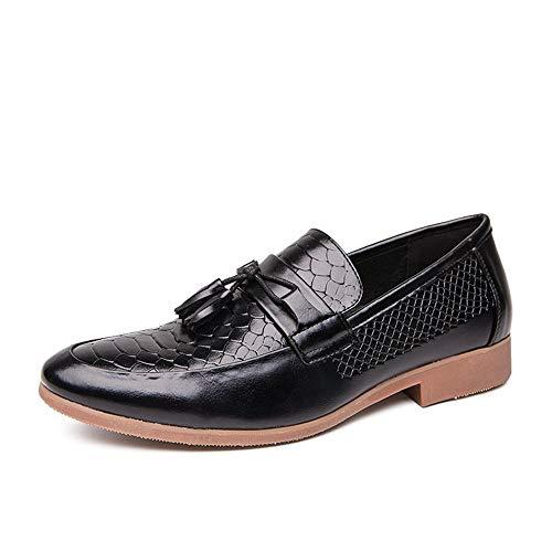 Jingkeke Herren Hochzeitskleid Quaste Oxfords for Herren Slip-on Walking Loafer Schuhe Soft Emboss Kunstleder Rubber Block Heel Ins Auge fallend Mode (Farbe : Schwarz, Größe : 45 EU) -