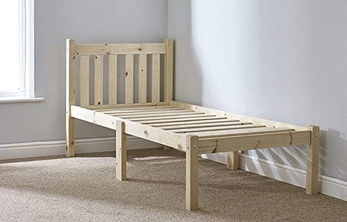 Strictly Beds and Bunks Limited Short length Childs Bed - Small Single Bed Pine 85cm by 175cm Single Bed Wooden Frame - INCLUDES 15cm thick sprung mattress