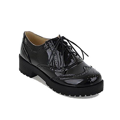 AllhqFashion Femme Lacet Fermeture D'Orteil Rond à Talon Bas Couleurs Mélangées Chaussures Légeres Noir