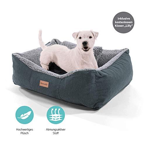 Homeoutfit24 Lucky Hundekorb Premium S 59 x 67 x 20 cm grau anthrazit Bezug waschbar mit Wendekissen weich Plüsch kuschelig Fell Hundebett Hundematte Hundedecke - 4
