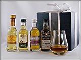 Geschenk 4 rauchfreie Single Malt Whisky Miniaturen (je 5cl) mit Spey Dram Glas, kostenloser Versand
