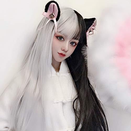 anime cosplay faux coiffure hommes et femmes universels noir et blanc double sort personnalité faux cheveux perruque Halloween ()