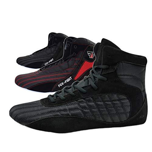 Zapatills de FOX-FIGHT para deportes de lucha, rings, fitness, color Negro, talla 42 EU