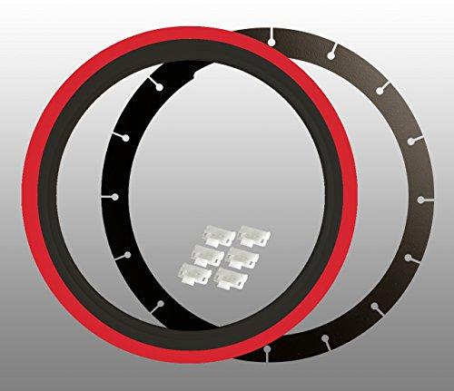 Bianco da parete anelli (4pezzi), 15pollici nero-rosso + TÜV certificato